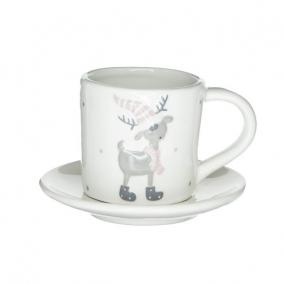 Kávéscsésze alátéttel szarvassal pöttyös kerámia 10,4 cm x 7,7 cm x 7cm,/12 cm x 12 cm x 1,8 cm fehér