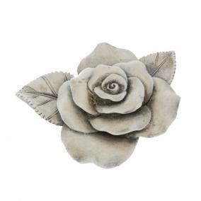 Kegyeleti rózsa poly 10cm x8,5cm x3,5cm szürke