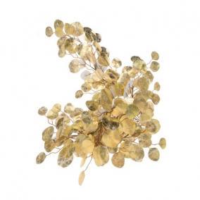 Kereklevelű fényes girland polyester 175cm x18 cm arany