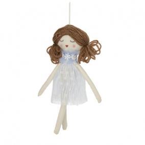 Kislány akasztós textil 21,5x5,5cm kék,fehér