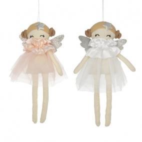 Kislány tüllruhában akasztós textil 24,5x5,5cm rózsaszín,fehér 2 féle