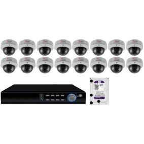 Komplett 16 varifokális dome infrakamera SANAN AHD rendszer