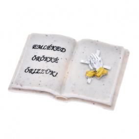 Könyv felirattal poly 8x6x2,5cm fehér