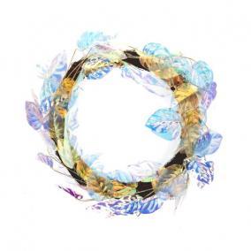 Koszorú babér levéllel polyester 71 cm x 66 cm x 10 cm színjátszó
