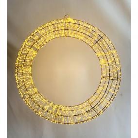 Koszorú kültéri 1920 LEDel, elektromos fém 60 cm arany