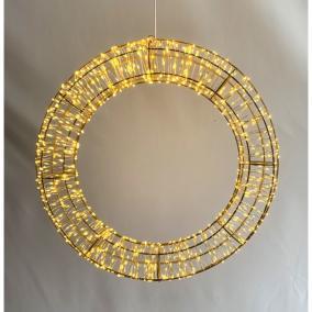 Koszorú kültéri 960 LEDel, elektromos fém 45 cm arany