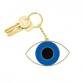 Kulcstartó extra méretű Szem fém kék