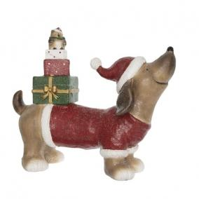 Kutya ajándékdobozzal kerámia 48,5 cm x 18,5 cm x 40,5 cm színes
