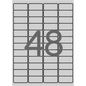 Etikett, 45,7x21,2 mm, poliészter, időjárásálló, kerekített sarkú, APLI, ezüst, 960 etikett/csomag [20 lap]