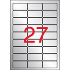 Etikett, 63,5x29,6 mm, poliészter, időjárásálló, kerekített sarkú, APLI, ezüst, 540 etikett/csomag [20 lap]