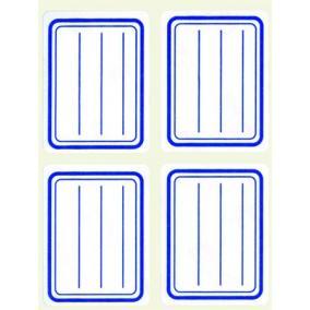 Füzetcímke, kék szegélyes, vonalas, 38x50 mm, 20 db, APLI [5 lap]