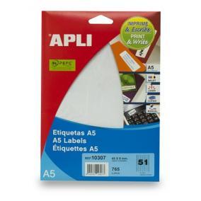 Etikett, 45x8 mm, eltávolítható, ékszerekhez, A5 hordozón, APLI, 765 etikett/csomag [15 lap]