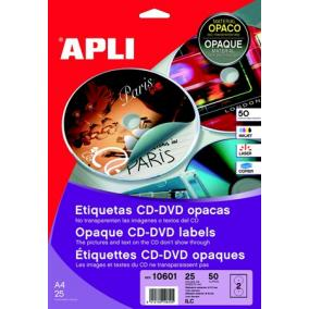 Etikett, CD/DVD, A4, teljes lefedettségű, matt, APLI