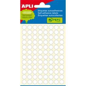 Etikett, 8 mm kör, kézzel írható, fehér, APLI, 480 etikett/csomag [5 lap]