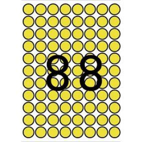 Etikett, 16 mm kör, színes, A5 hordozón, APLI, sárga, 704 etikett/csomag [8 lap]