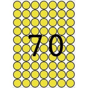 Etikett, 19 mm kör, színes, A5 hordozón, APLI, sárga, 560 etikett/csomag [8 lap]