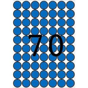 Etikett, 19 mm kör, színes, A5 hordozón, APLI, kék, 560 etikett/csomag [8 lap]