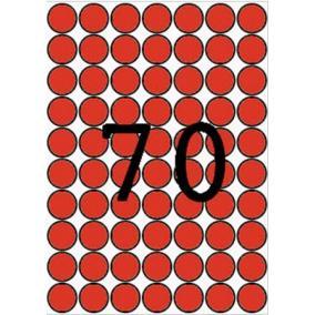 Etikett, 19 mm kör, színes, A5 hordozón, APLI, piros, 560 etikett/csomag [8 lap]