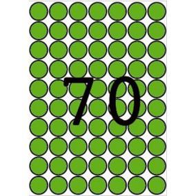 Etikett, 19 mm kör, színes, A5 hordozón, APLI, zöld, 560 etikett/csomag [8 lap]