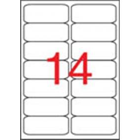 Etikett, 99,1x38,1 mm, poliészter, időjárásálló, kerekített sarkú, APLI, 280 etikett/csomag [20 lap]