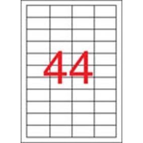 Etikett, 48,5x25,4 mm, poliészter, időjárásálló, matt, APLI, áttetsző, 880 etikett/csomag [20 lap]