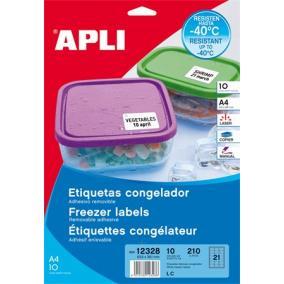Etikett, 63,5x38,1 mm, fagyasztható, kerekített sarkú, APLI, 210 etikett/csomag [10 lap]