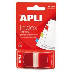 Jelölőcímke, műanyag, 50 lap, 25x45 mm, APLI, piros [50 lap]