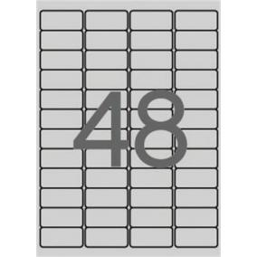Etikett, 45,7x21,2 mm, poliészter, időjárásálló, kerekített sarkú, APLI, ezüst, 4800 etikett/csomag [100 lap]