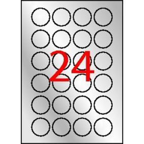 Etikett, 40 mm kör, poliészter, időjárásálló, APLI, ezüst, 480 etikett/csomag [20 lap]