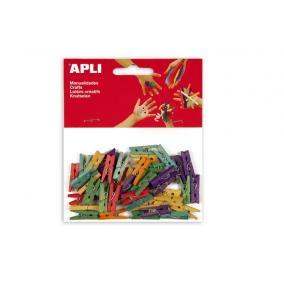 Csipesz, fa, 25x3 mm, APLI, színes [45 db]