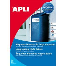 Etikett, 99,1x67,7 mm, poliészter, időjárásálló, kerekített sarkú, APLI, 160 etikett/csomag [20 lap]