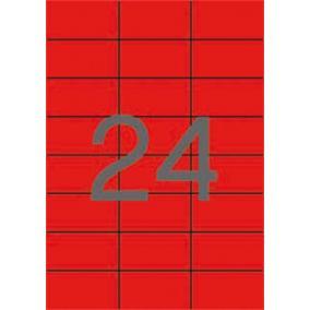 Etikett, 70x37 mm, színes, APLI, piros, 480 etikett/csomag [20 lap]