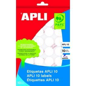 Etikett, 16 mm kör, kézzel írható, APLI, 540 etikett/csomag [10 lap]