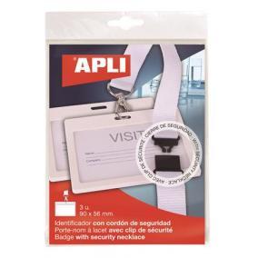 Azonosítókártya tartó, nyakba akasztható, biztonsági csattal, 90x56 mm, APLI, fehér [3 db]