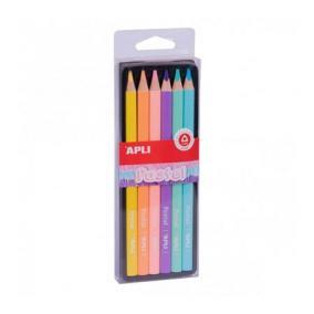 Színes ceruza készlet, háromszögletű, vastag, APLI