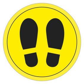 Információs matrica, padlójelölő, APLI, cipő mintázat