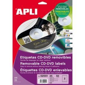 Etikett, CD/DVD, A4, matt, eltávolítható, APLI [25 lap]