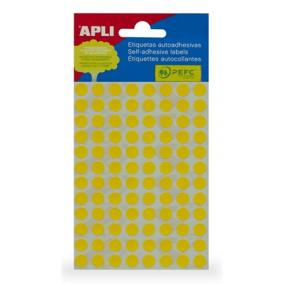Etikett, 8 mm kör, kézzel írható, színes, APLI, sárga, 288 etikett/csomag [3 lap]