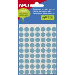 Etikett, 8 mm kör, kézzel írható, színes, APLI, kék, 288 etikett/csomag [3 lap]