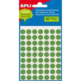 Etikett, 8 mm kör, kézzel írható, színes, APLI, zöld, 288 etikett/csomag [3 lap]