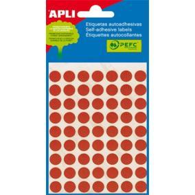 Etikett, 10 mm kör, kézzel írható, színes, APLI, piros, 315 etikett/csomag [5 lap]