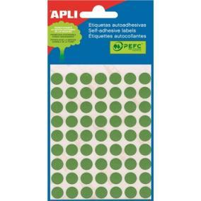 Etikett, 10 mm kör, kézzel írható, színes, APLI, zöld, 315 etikett/csomag [5 lap]