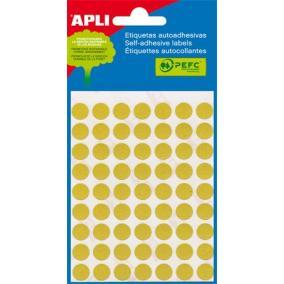 Etikett, 13 mm kör, kézzel írható, színes, APLI, sárga, 175 etikett/csomag [5 lap]