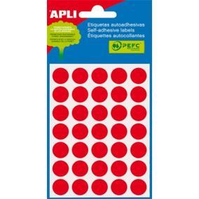 Etikett, 13 mm kör, kézzel írható, színes, APLI, piros, 175 etikett/csomag [5 lap]