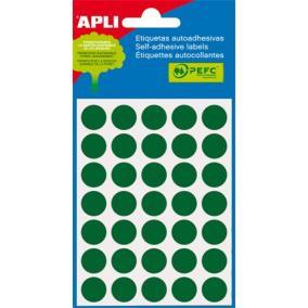 Etikett, 13 mm kör, kézzel írható, színes, APLI, zöld 175 etikett/csomag [5 lap]