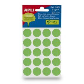 Etikett, 19 mm kör, kézzel írható, színes, APLI, zöld 100 etikett/csomag [5 lap]