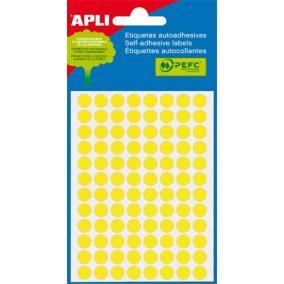 Etikett, 8 mm kör, kézzel írható, színes, APLI, neon sárga, 288 etikett/csomag [3 lap]