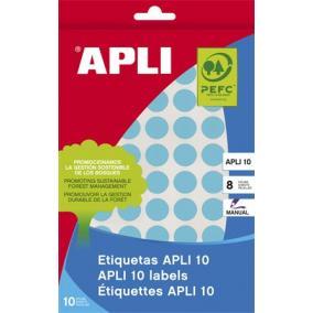 Etikett, 10 mm kör, kézzel írható, színes, APLI, kék, 1008 etikett/csomag [8 lap]
