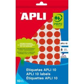 Etikett, 10 mm kör, kézzel írható, színes, APLI, piros, 1008 etikett/csomag [8 lap]