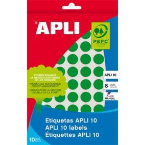 Etikett, 10 mm kör, kézzel írható, színes, APLI, zöld, 1008 etikett/csomag [8 lap]
